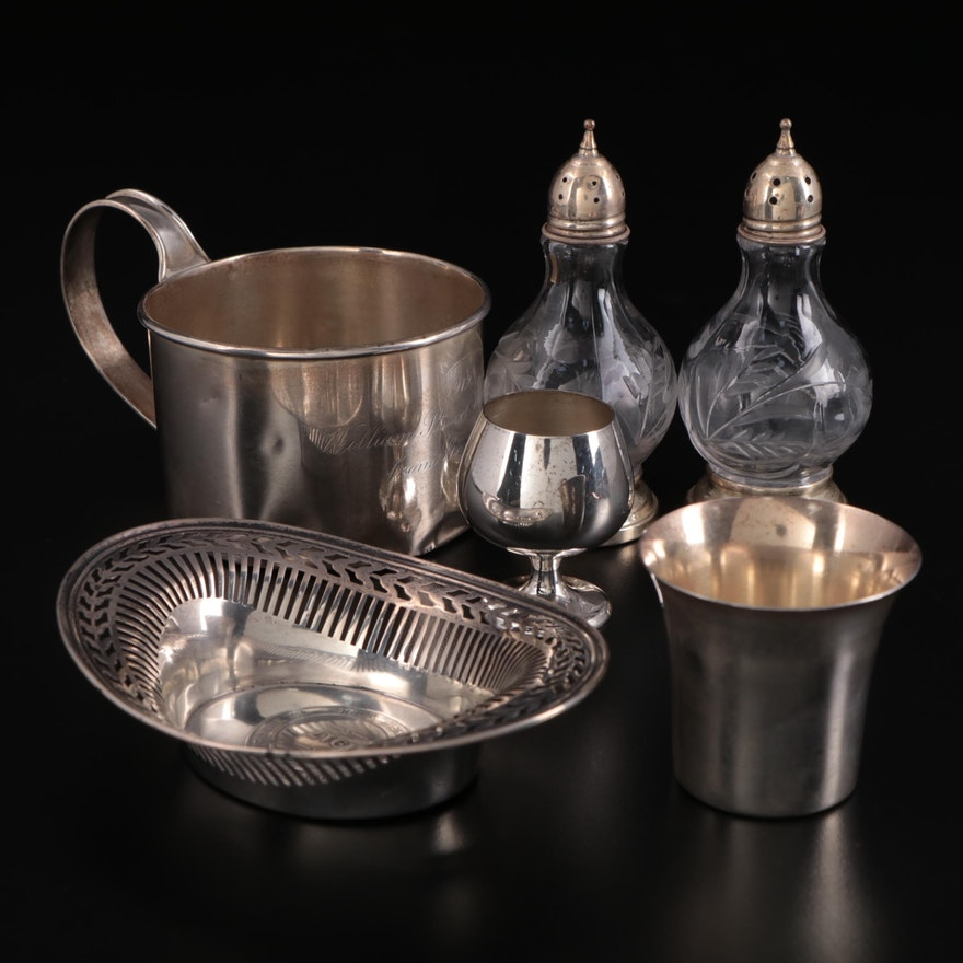 Frank W. Smith Baby Cup with Other Sterling Silver Tableware, Early-Mid 20th C.