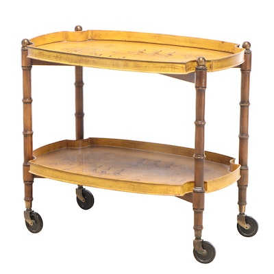 Brandt Hardwood and Tole Tray-Top Chinoiserie Serving Cart, Late 20th Century