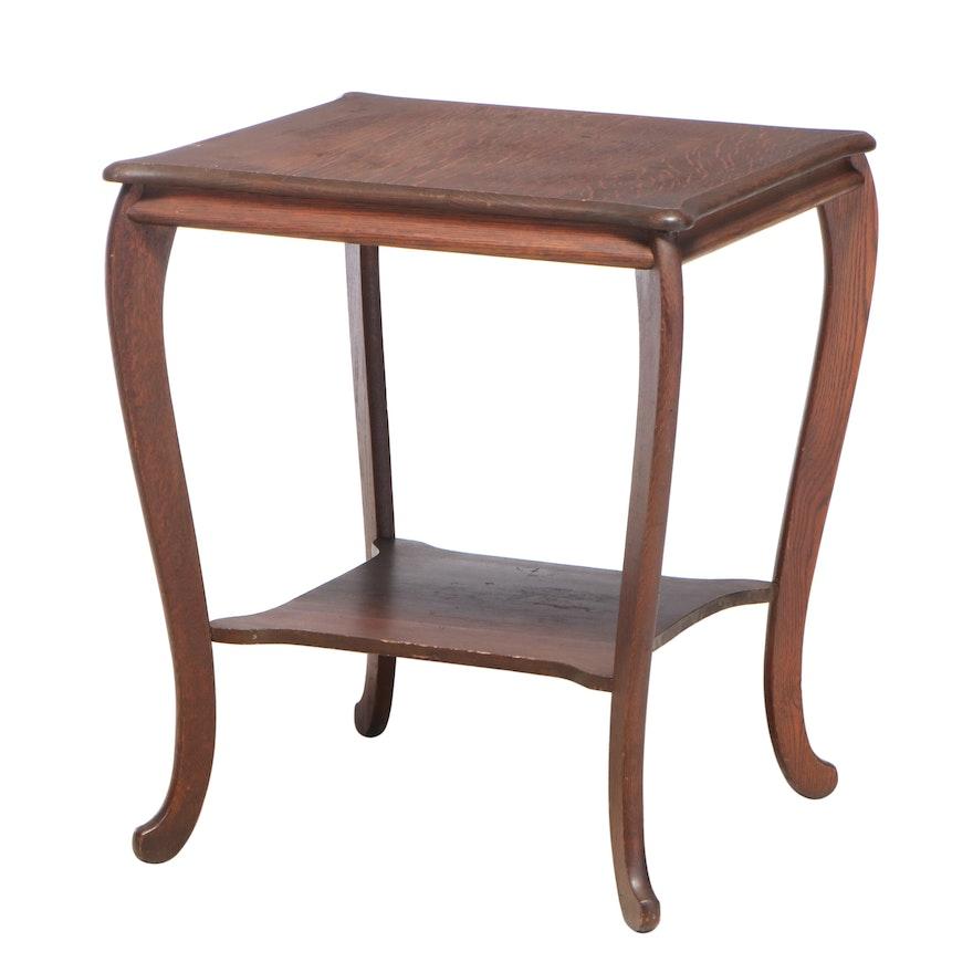 Late Victorian Quartersawn Oak Two-Tier Parlor Table, circa 1900