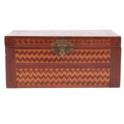 Handcrafted Marquetry Jewelry Box with Removable Tray