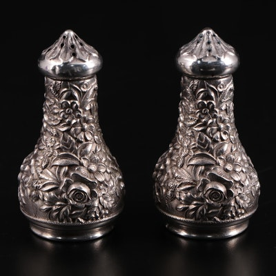"""S. Kirk & Son """"Repoussé"""" Sterling Silver Shakers, Late 19th Century"""