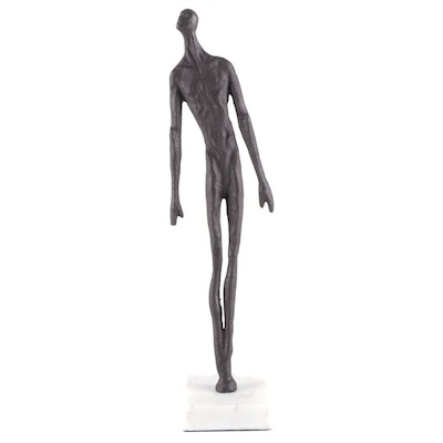 Abstract Metal Male Figurine on Marble Base