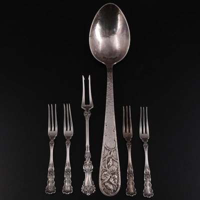 """Gorham """"Buttercup"""" Sterling Silver Strawberry Forks with Other Sterling Utensils"""