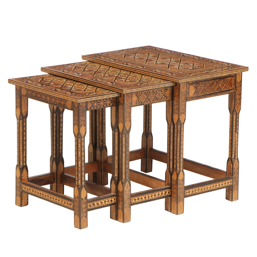 Set of Three Syrian Marquetry and Mother-of-Pearl-Inlaid Graduated Side Tables