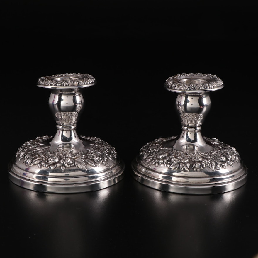 """S. Kirk & Son """"Repoussé"""" Weighted Sterling Silver Candle Holders"""
