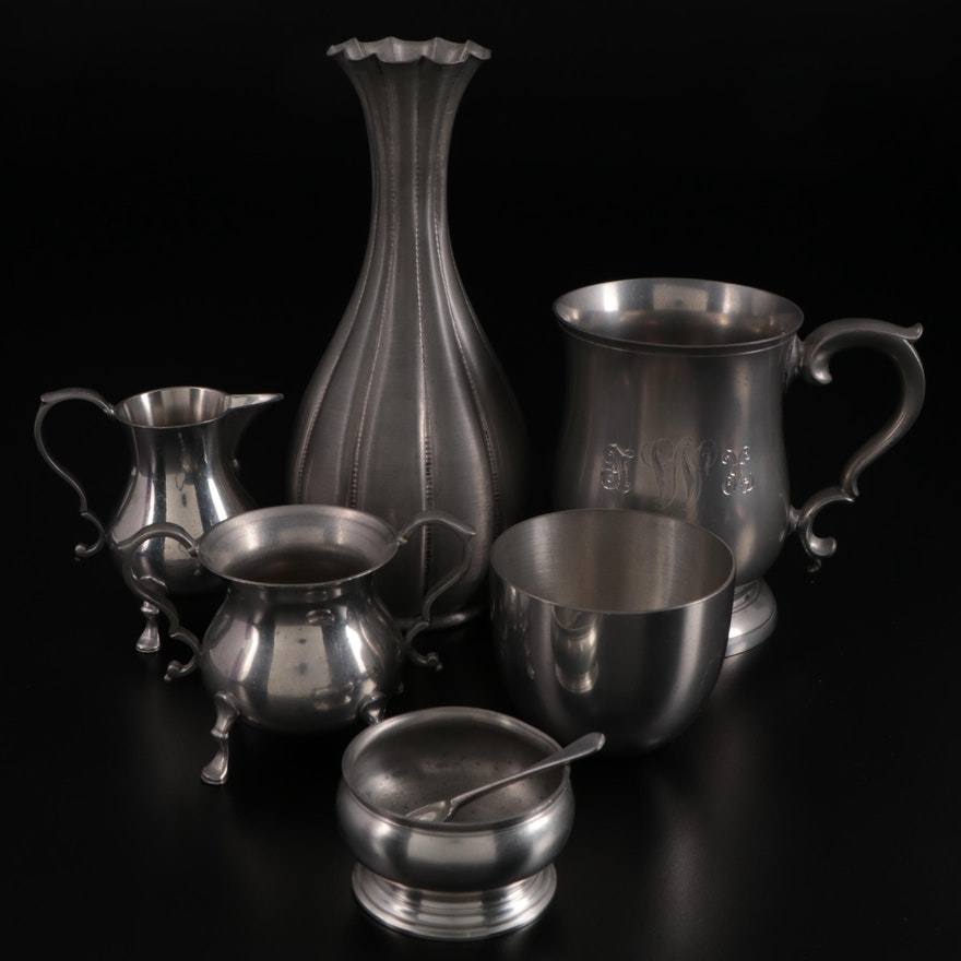 Stieff Pewter Tankard and Table Accessories with Metalars Pewter Vase