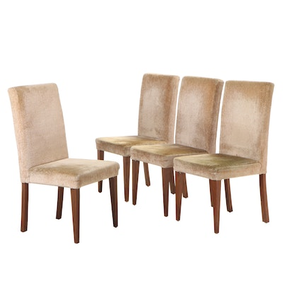Four Walnut and Upholstered Dining Chairs