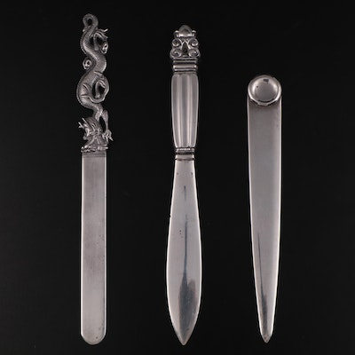 Wang Hing 900 Silver Letter Opener and Other Sterling Silver Letter Openers