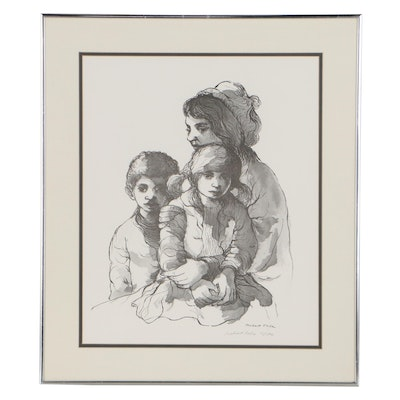 Robert Fabe Offset Lithograph of Mother and Children, Late 20th Century