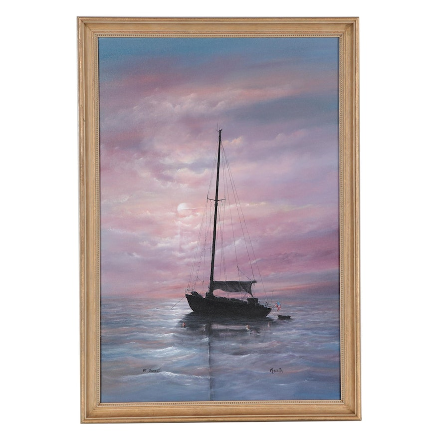 """Robert A. Masella Oil Painting """"At Sunset,"""" Late 20th Century"""