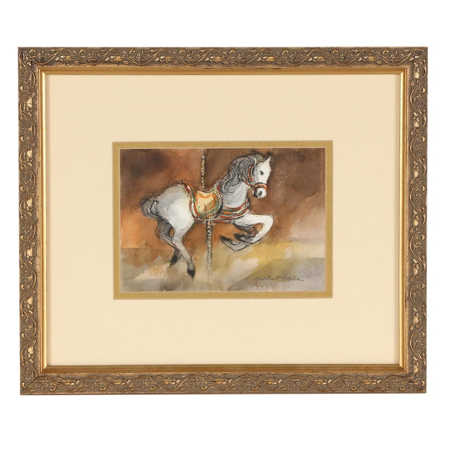 Robert Fabe Watercolor Painting of Carousel Horse
