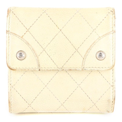 Chanel Compact Multifold Wallet in Off-White Caviar Leather
