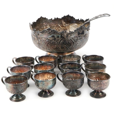 Israel Freeman & Son Silver Plate Punch Bowl, Cups, and Ladle, Early 20th C.