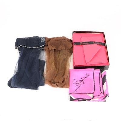 Elsa Schiaparelli Silk Scarf, Hosiery and Stationery with Phoenix Stockings