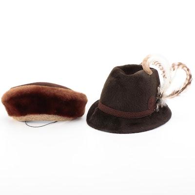 Bumper Hat in Mouton-Wool Felt and Fur Felt Embellished Tyrolean-Style Fedora