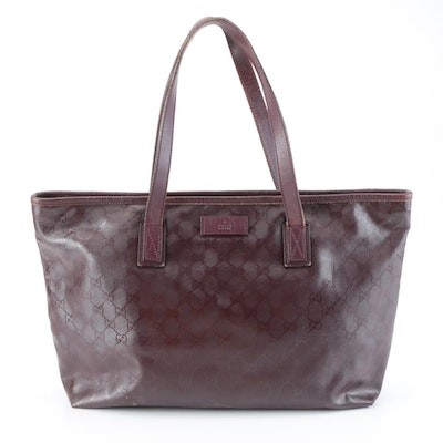 Gucci Zip Top Shopping Tote in Bordeaux GG Imprimé Coated Canvas