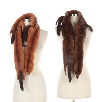 Two Full-Pelt Mink Fur Stoles