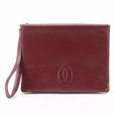 Cartier Les Must de Cartier Wristlet Flap Clutch in Burgundy Leather with Box