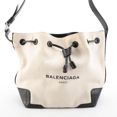 Balenciaga Small Bucket Bag with Pouch in Natural Woven Canvas and Black Leather