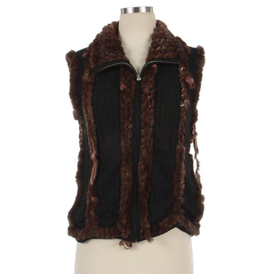 Black Knit Vest with Knitted Dark Brown Mink Fur Inserts