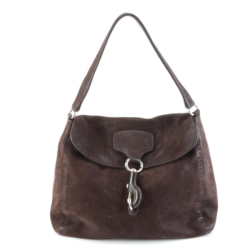 Prada Dark Brown Suede Shoulder Bag