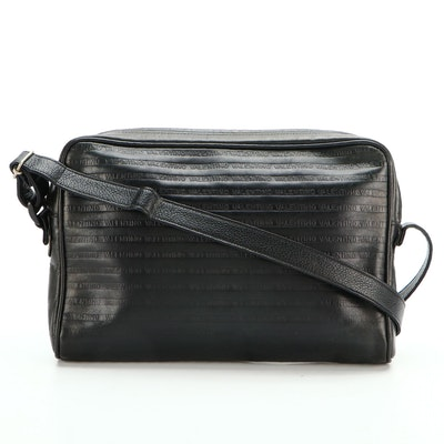 Mario Valentino Black Logo Embossed Leather Shoulder Bag