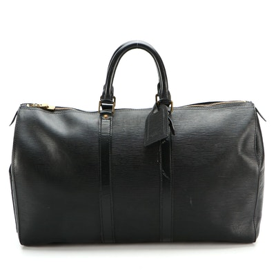 Louis Vuitton Keepall 45 Duffel Bag in Black Epi and Smooth Leather