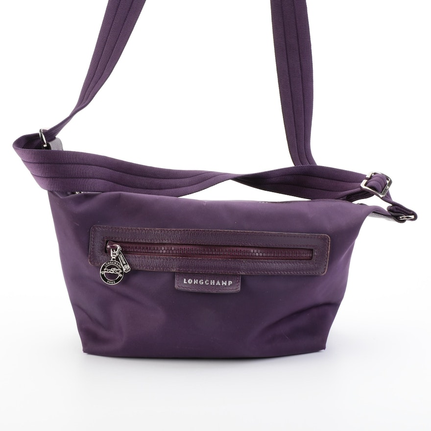 Longchamp Shoulder Bag in Purple Nylon Twill and Saffiano Leather