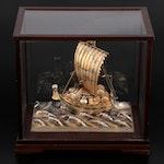 Japanese Seki Sterling Silver Treasure Ship in Glass Case