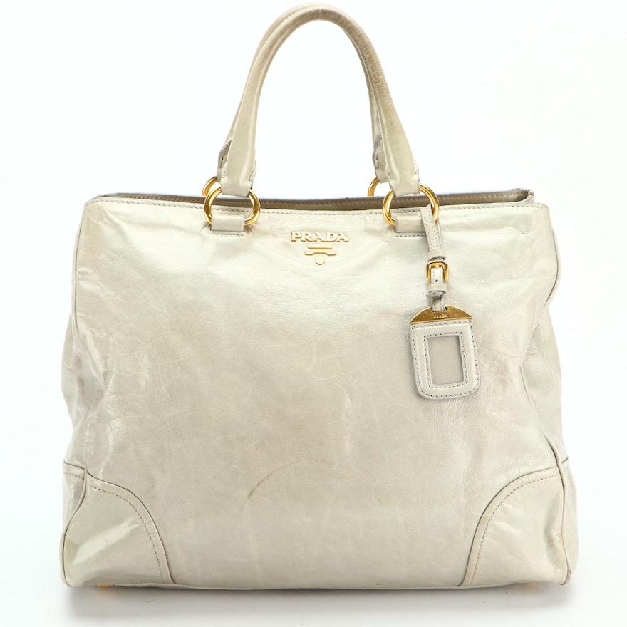 Prada Tote Bag in Pale Green Glacé Calfskin with Detachable Shoulder Strap