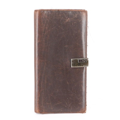 Gucci Long Wallet in Brown Leather with Square G Clasp