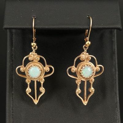 14K Opal Openwork Drop Earrings