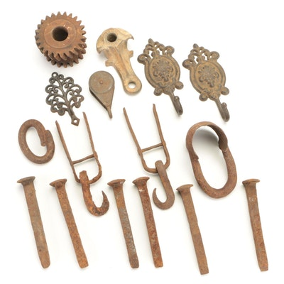 Cast Iron Railroad Spikes, Pulleys, Wall Hooks and More