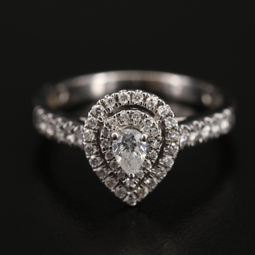 10K Diamond Double Halo Ring