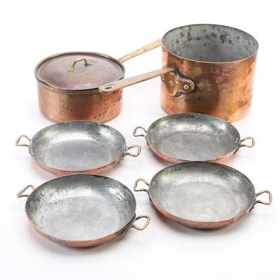 Hammacher Schlemmer and Tagus Copper Sauce and Gratin Pans