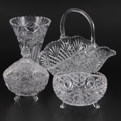 """Crystal Clear Industries """"Chardoney"""" Vase with Cut Glass Tableware"""