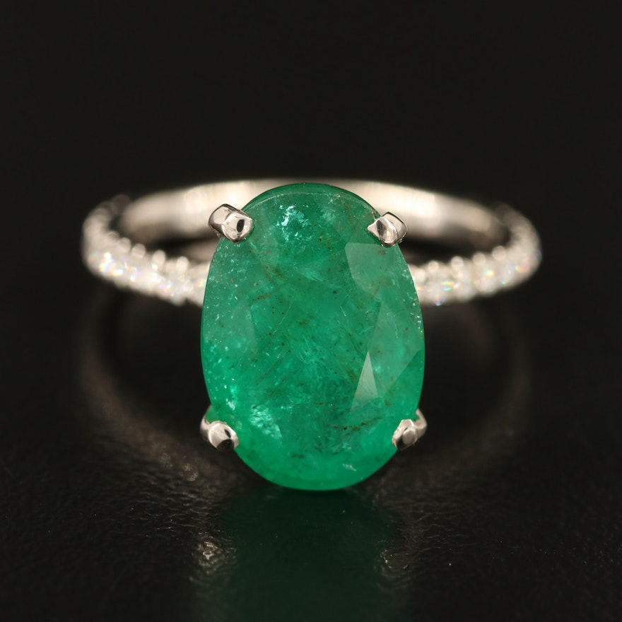14K 5.44 CT Emerald and Diamond Ring with GIA Report