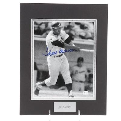 Hank Aaron Signed Atlanta Braves Photo Baseball Print, The Score Board COA