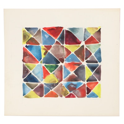 Jack Meanwell Abstract Watercolor Painting, Late 20th Century