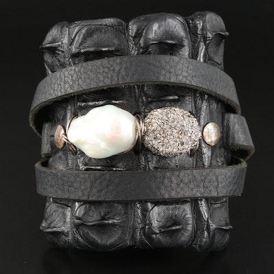 Rebecca Bourke 1.50 CTW Diamond and Pearl Alligator Leather Triple Wrap Bracelet