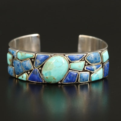 Sterling Turquoise and Lapis Lazuli Cuff