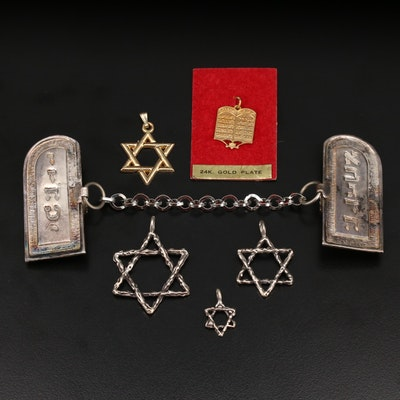 Sterling Star of David and Ten Commandments Tablet Jewelry