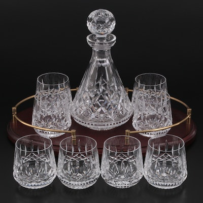 """Waterford """"Lismore"""" Crystal Decanter and Rocks Glasses with Tray"""
