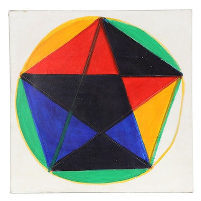 Geometric Oil Painting Attributed to Dimitri Grachis, Late 20th Century