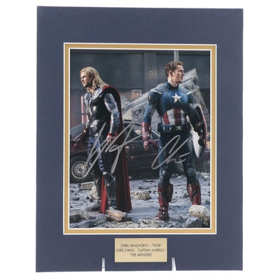"Chris Hemsworth ""Thor"" and Chris Evans ""Captain America"" Signed Movie Print, COA"