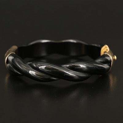 14K Carved Black Onyx Twisted Hinged Bracelet