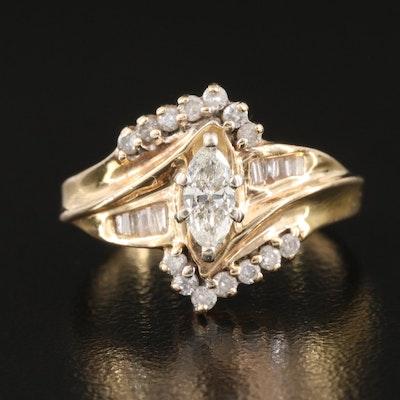 14K 0.49 CTW Diamond Bypass Ring