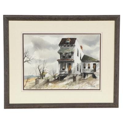 """Robert Fabe Watercolor Painting """"Old Cincinnati"""""""
