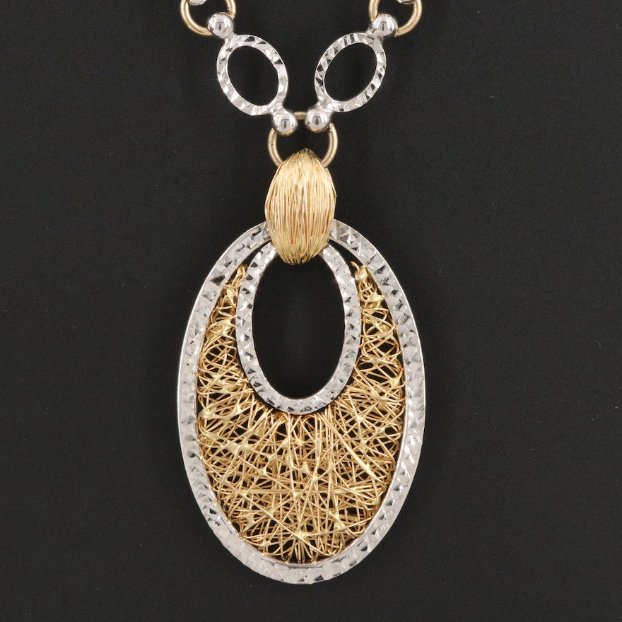 14K Italian Cable Chain Necklace with Wirework Drop