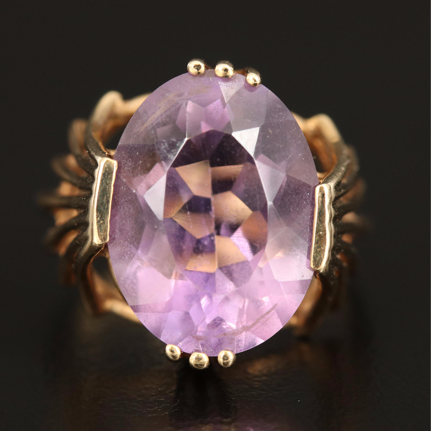 10K 8.30 CT Amethyst Solitaire Ring
